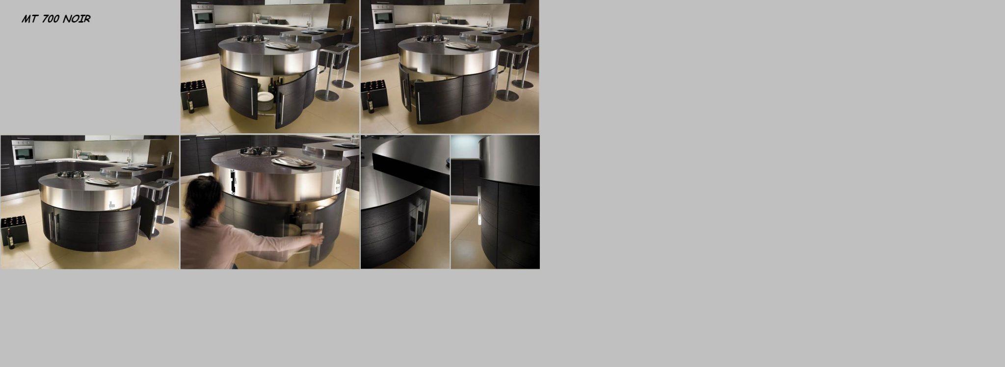 lot de photos de cuisine ronde noir